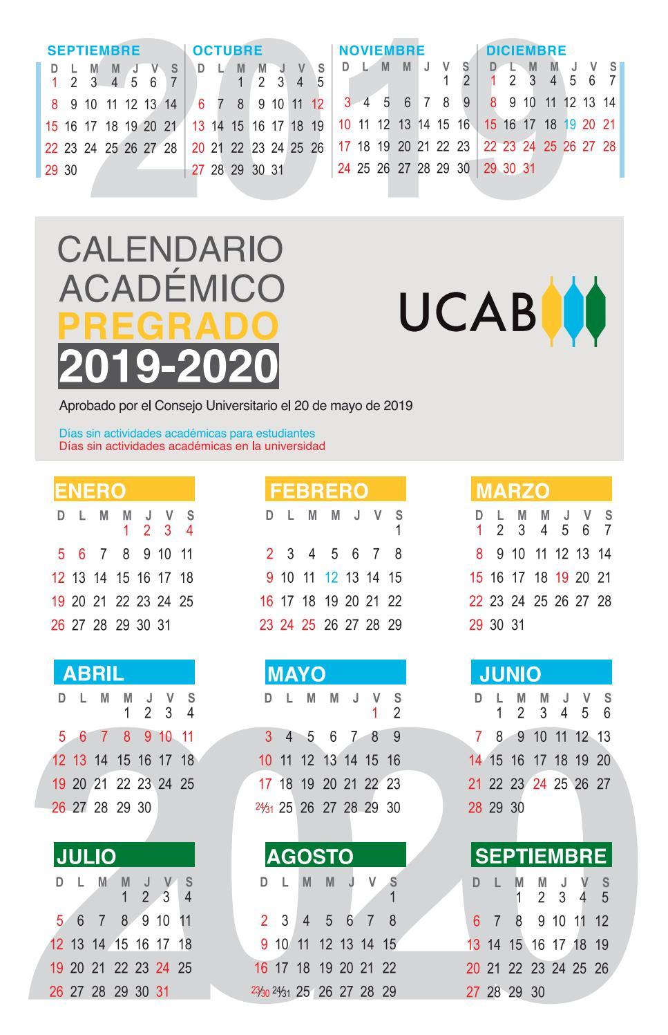 Agosto 2020 Calendario.Calendario Academico Pregrado 2019 2020 Ucab By Ucab Caracas