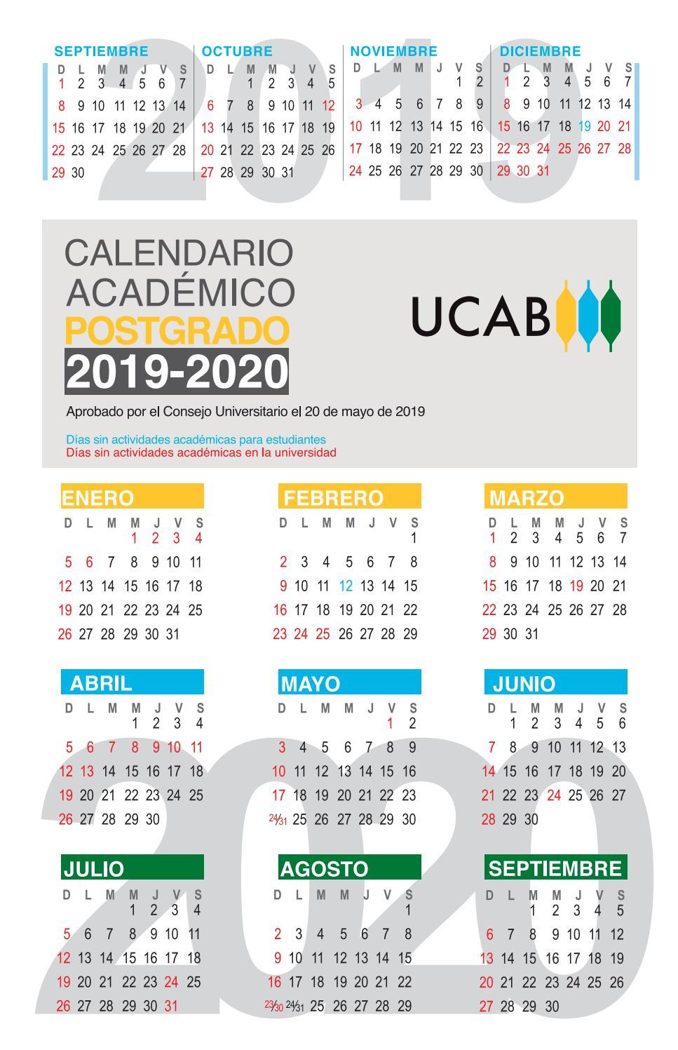 Agosto 2020 Calendario.Calendario Academico Postgrado 2019 2020 Ucab By Ucab