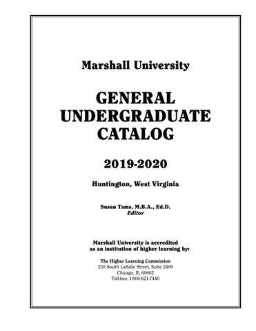 Marshall University Undergraduate Catalog, 2019-2020 by