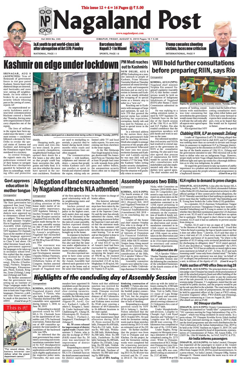 August 9, 2019 by Nagaland Post - issuu