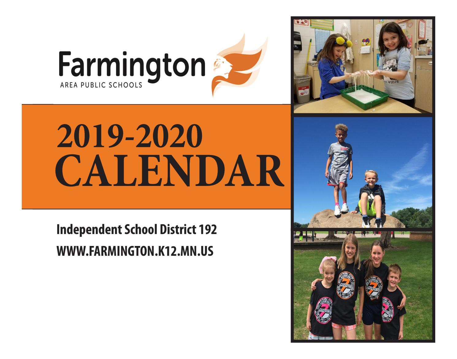 Farmington Ct School Calendar 2021-2022 2019 2020 District 192 Calendar by Sally McConnaughey   issuu