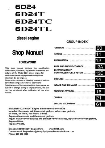 MITSUBISHI 6D24 6D24T 6D24TC 6D24TL SERVICE MANUAL - Free ... on
