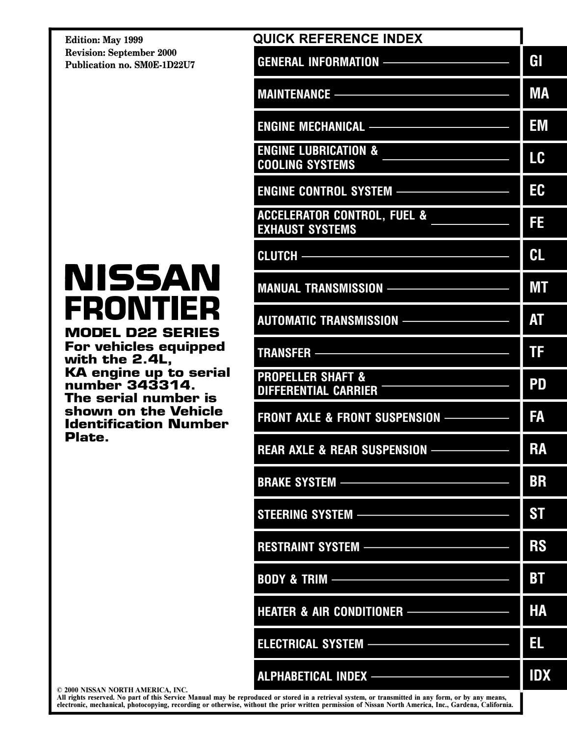 40 Nissan Frontier KA Service Repair Manual by 40   issuu