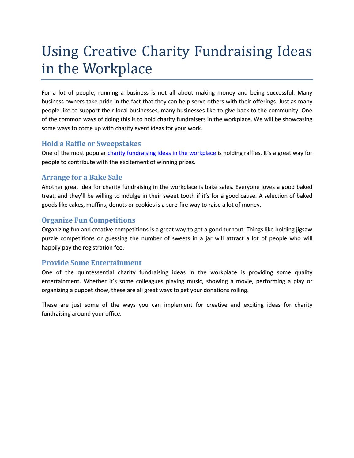 Using Creative Charity Fundraising Ideas In The Workplace By Akshita02 Sharma Issuu