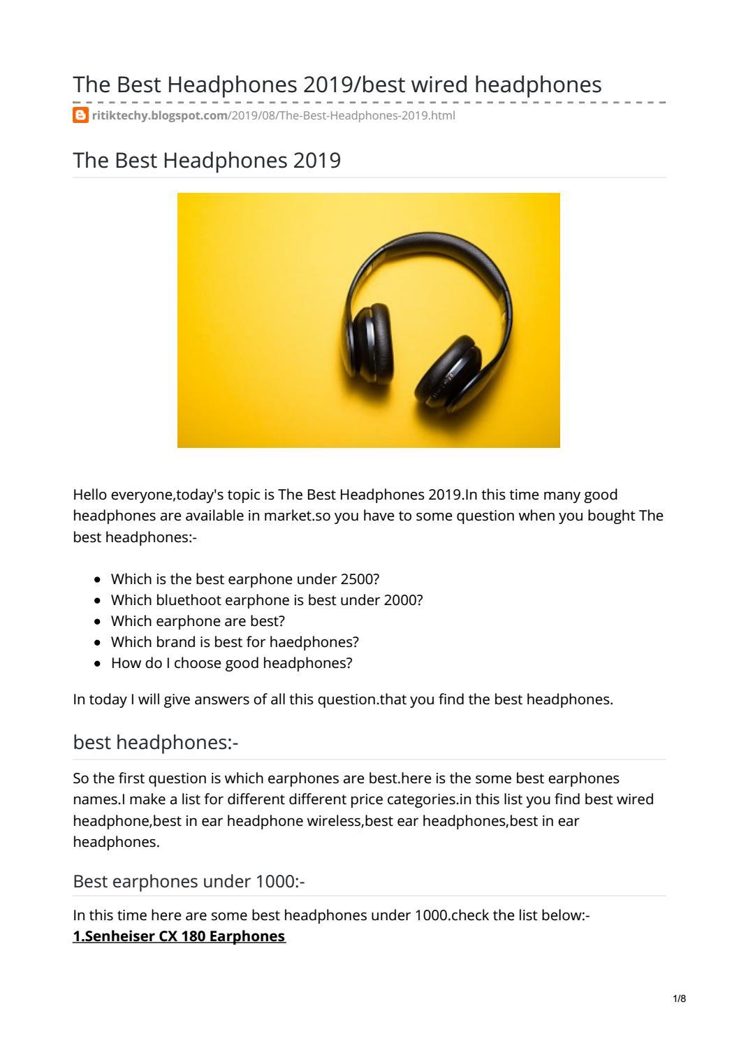 The Best Headphones 2019 Best Headphones List Are Here By Ritikdewangan67 Issuu