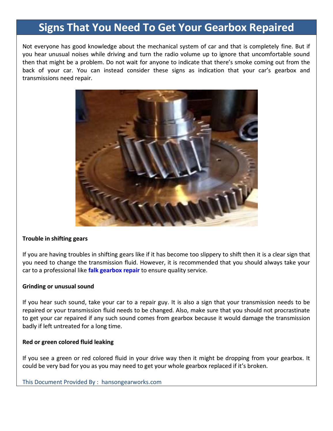 Signs That You Need To Get Your Gearbox Repaired by