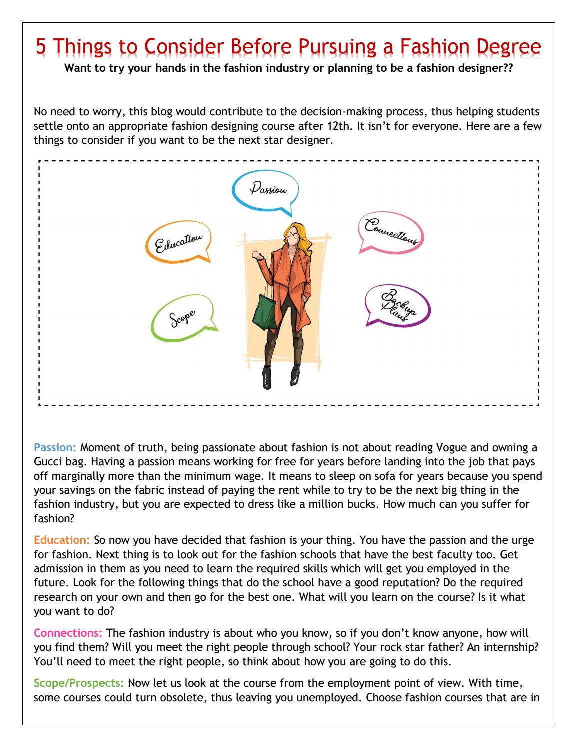 5 Things To Consider Before Opting Fashion Designing As A Career By Gurukulintitution Issuu