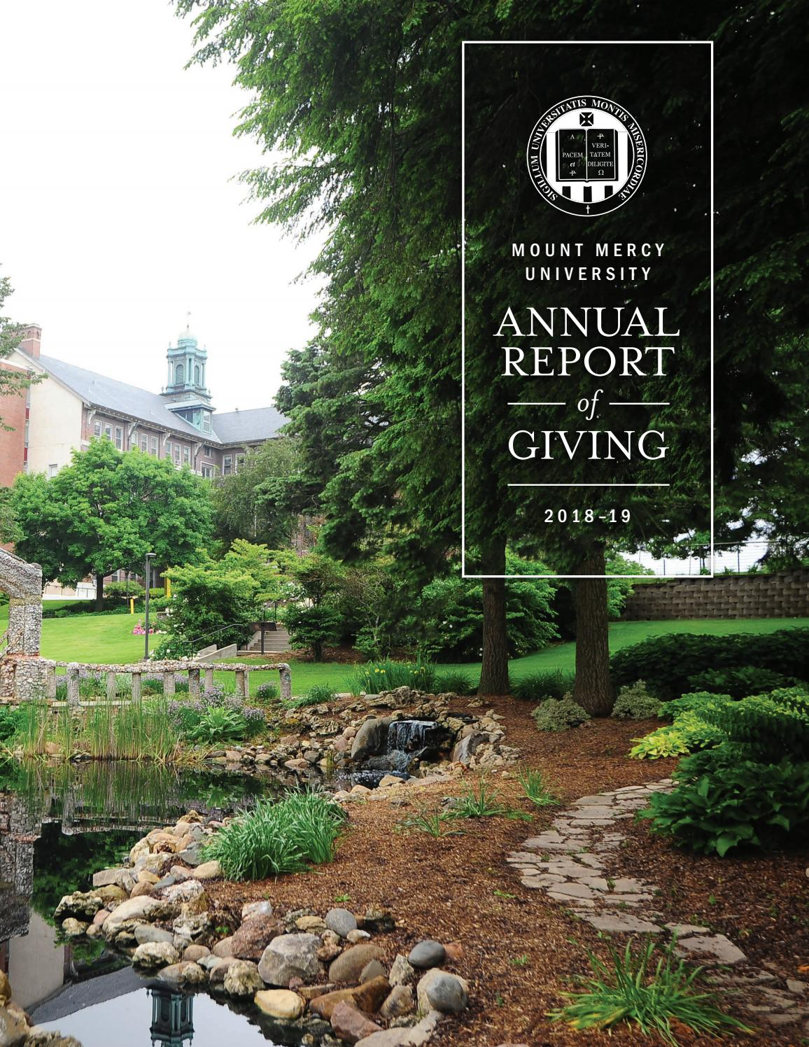 Annual Report Of Giving 2018 2019 By Mount Mercy University Issuu