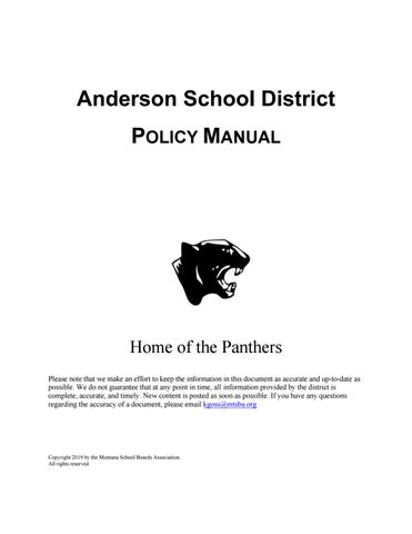 Anderson Elementary School District Policy Manual By Montana