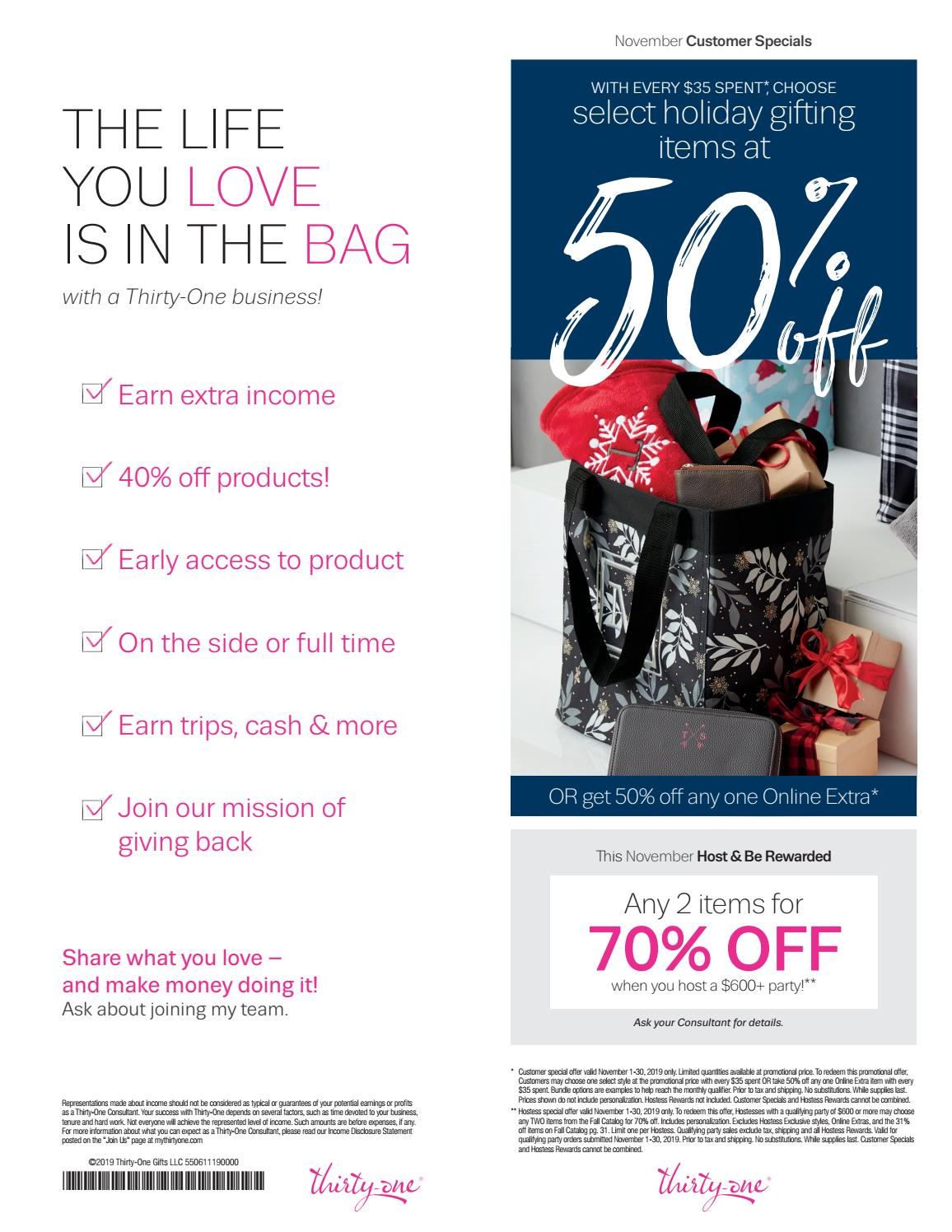 Thirty One Gifts November Customer Special 2019 By