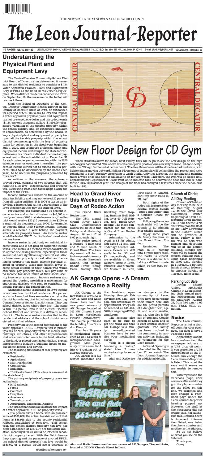 The Leon Journal-Reporter - August 14, 2019 by Tonya Kunze