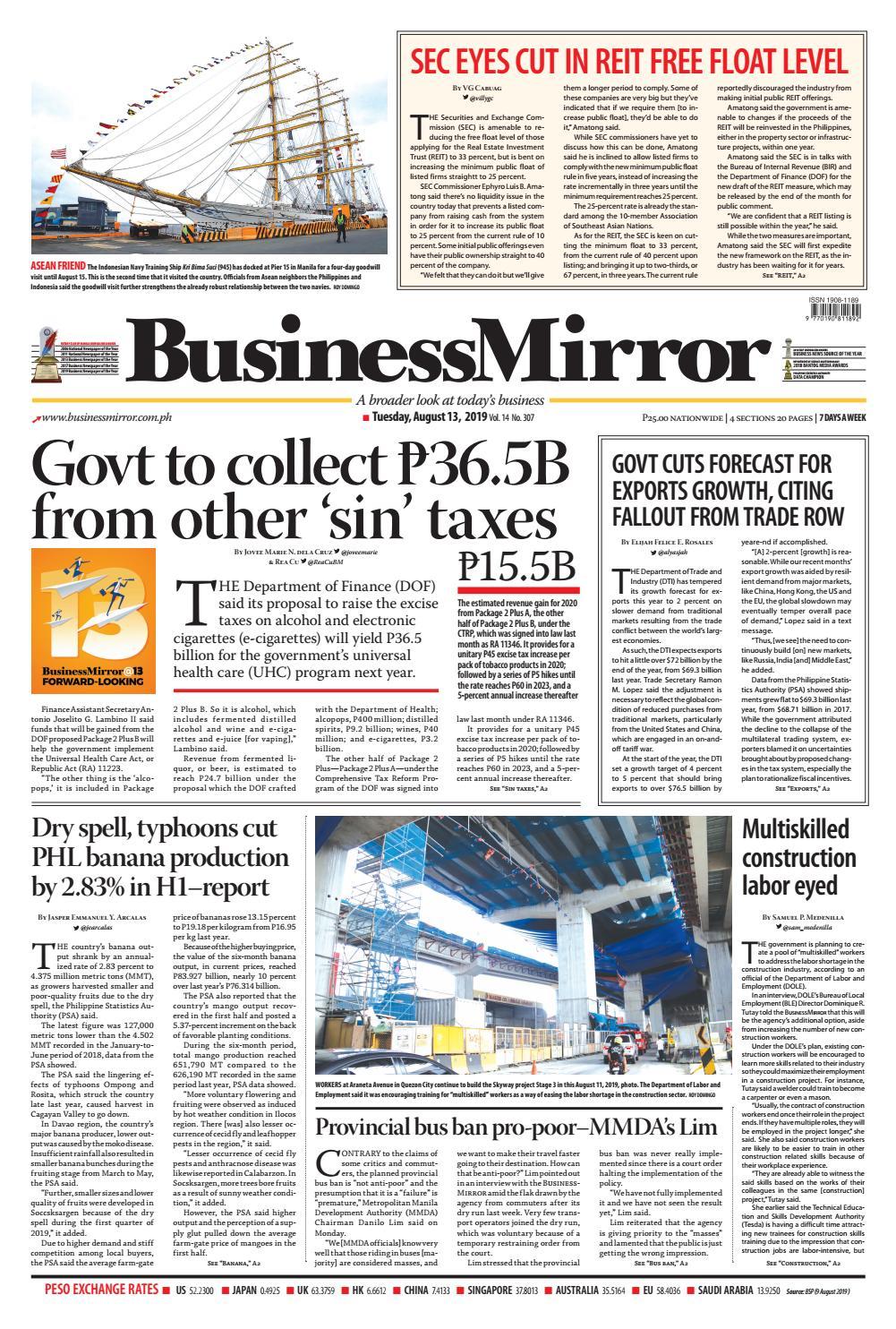 BusinessMirror August 12, 2019 by BusinessMirror - issuu