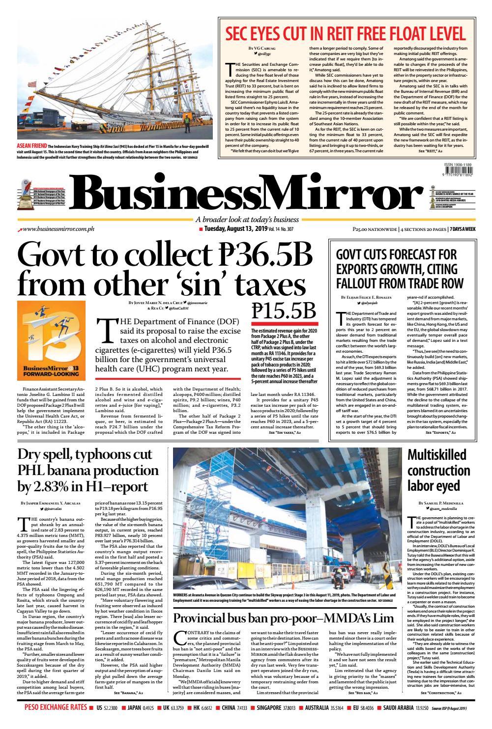BusinessMirror August 13, 2019 by BusinessMirror - issuu