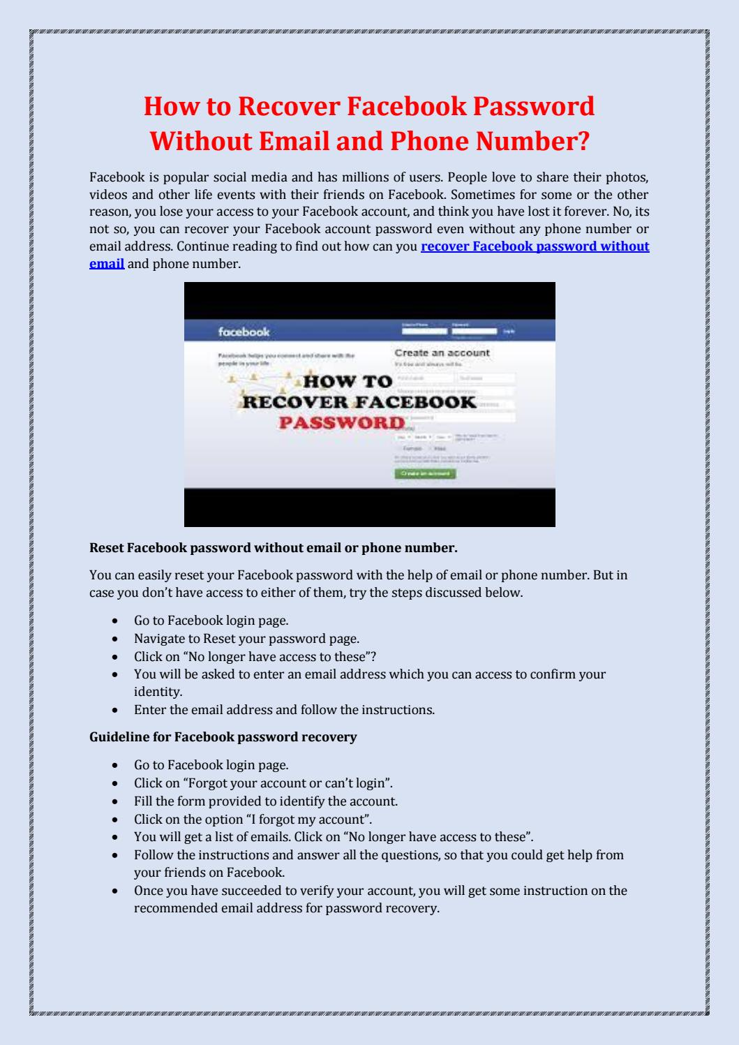Password facebook need reset to How to