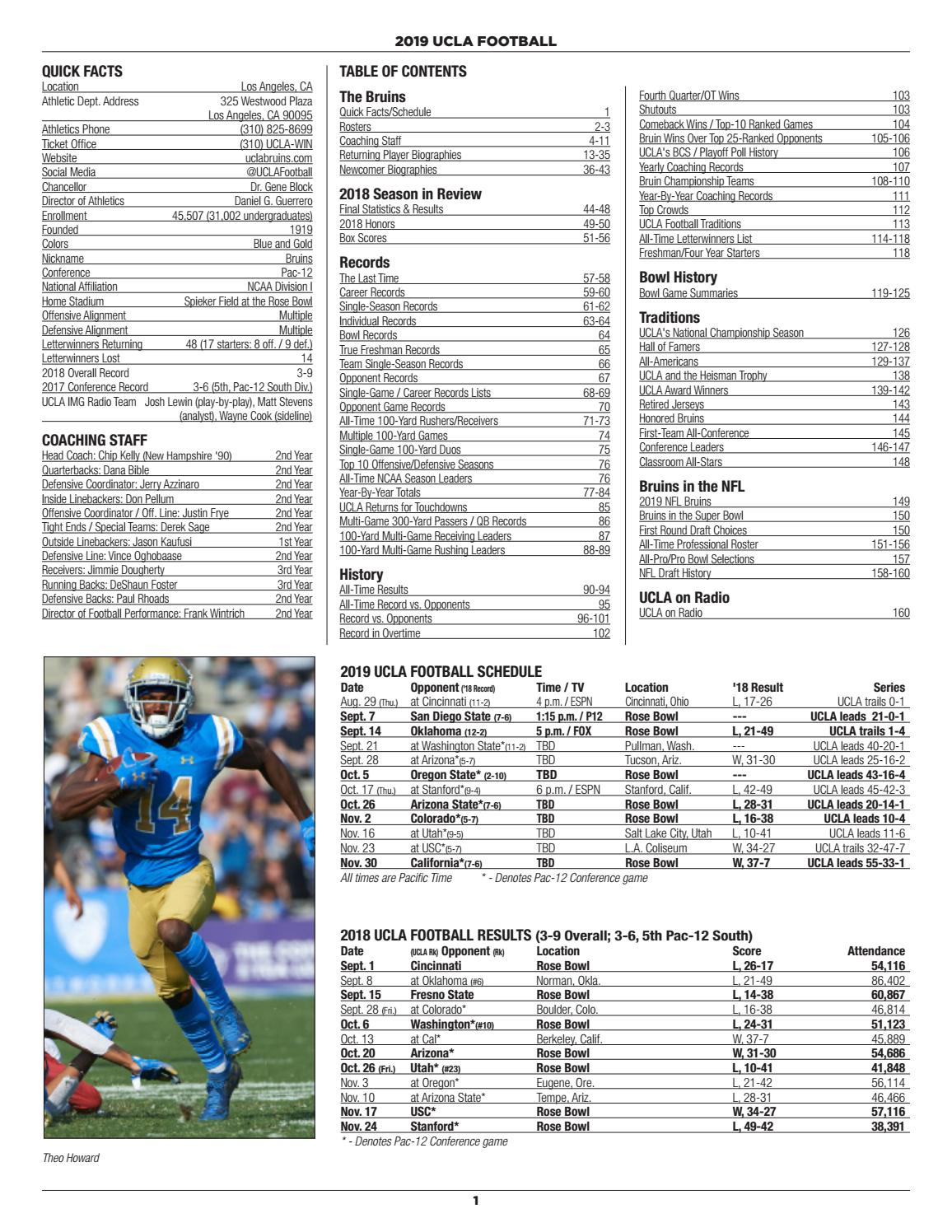 2019 Ucla Football Information Guide By Ucla Athletics Issuu