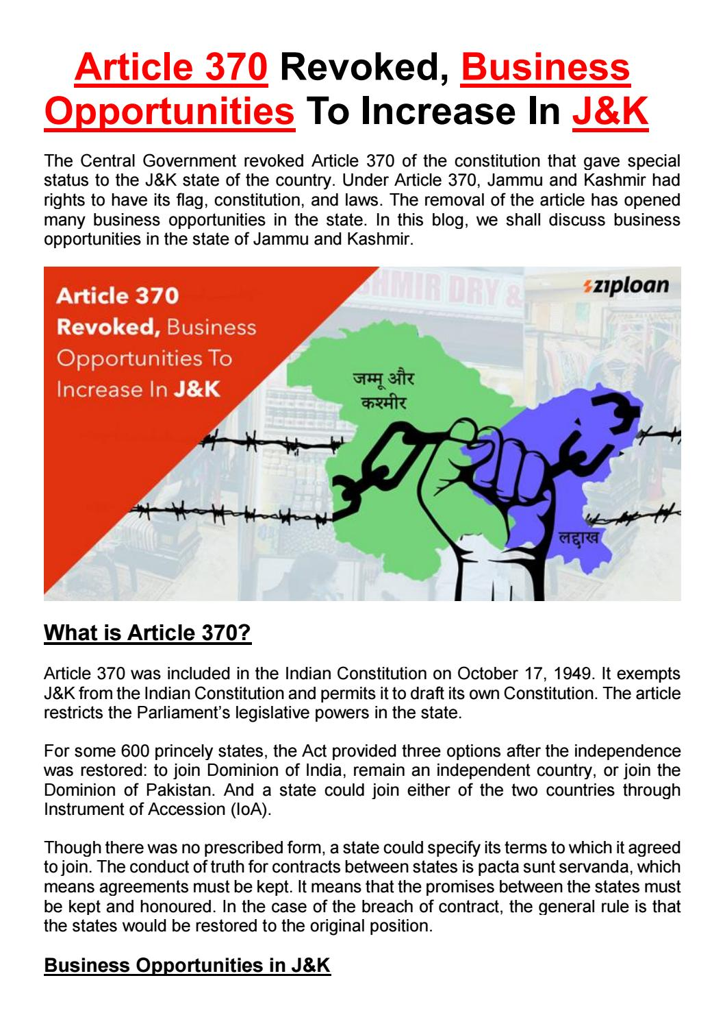 Article 370 Revoked, Business Opportunities To Increase In