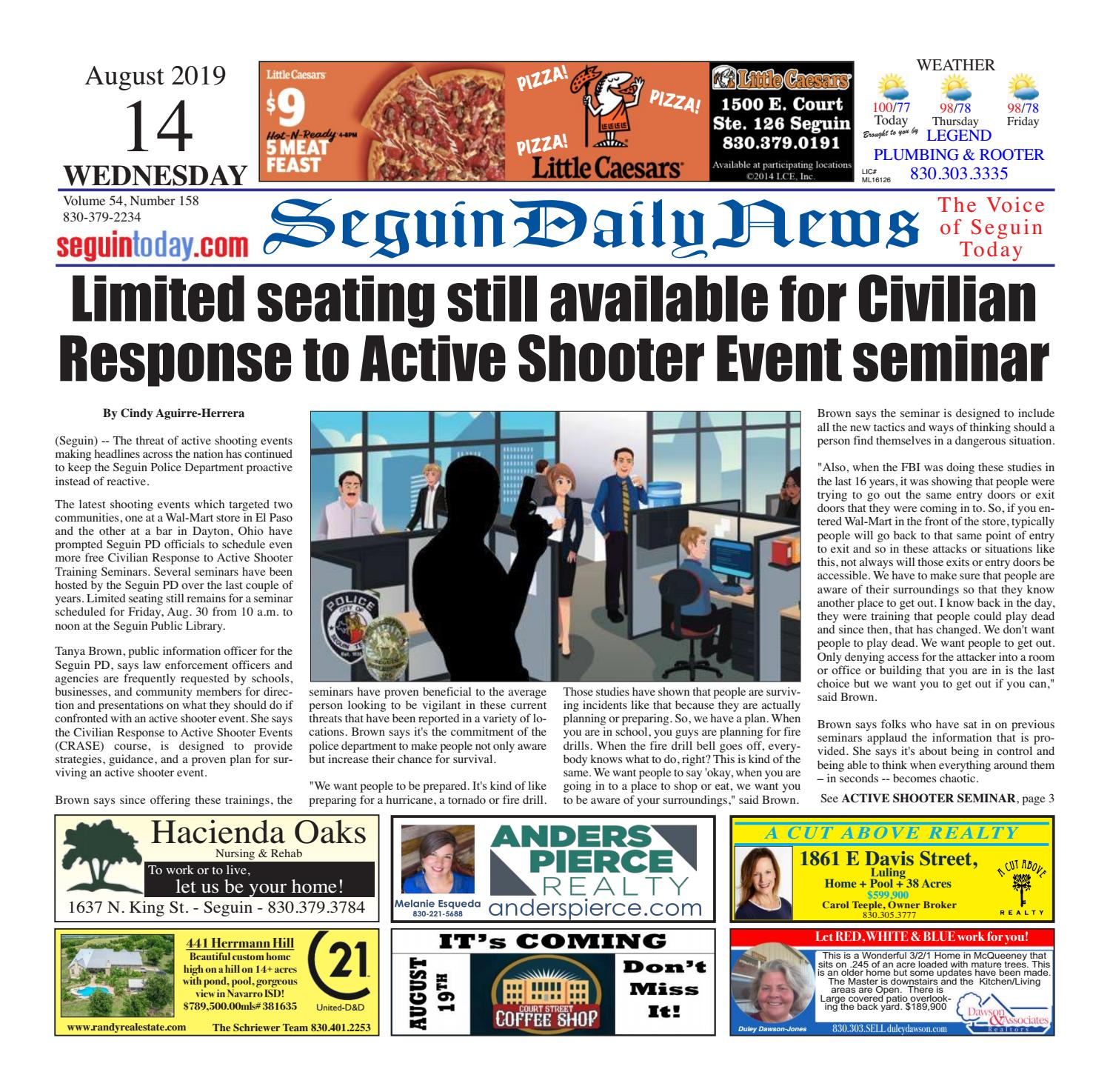 SDN, August 14, 2019 by Seguin Daily News - issuu