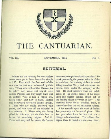 The Cantuarian November 1890 June 1892 by OKS Association
