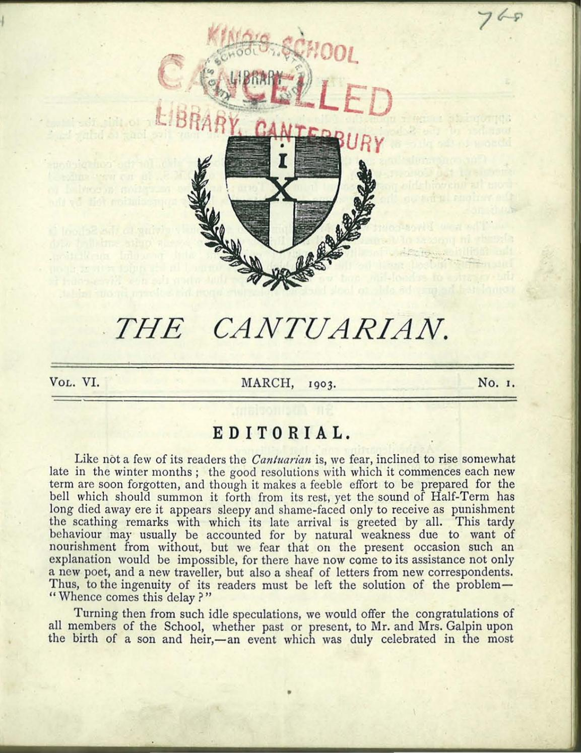The Cantuarian March 1903 - December 1904 by OKS ociation ... on