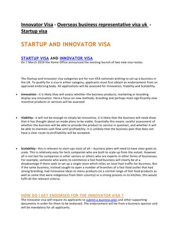 Page 1 of Startup Visa - Val Morgan Immigration Advisers