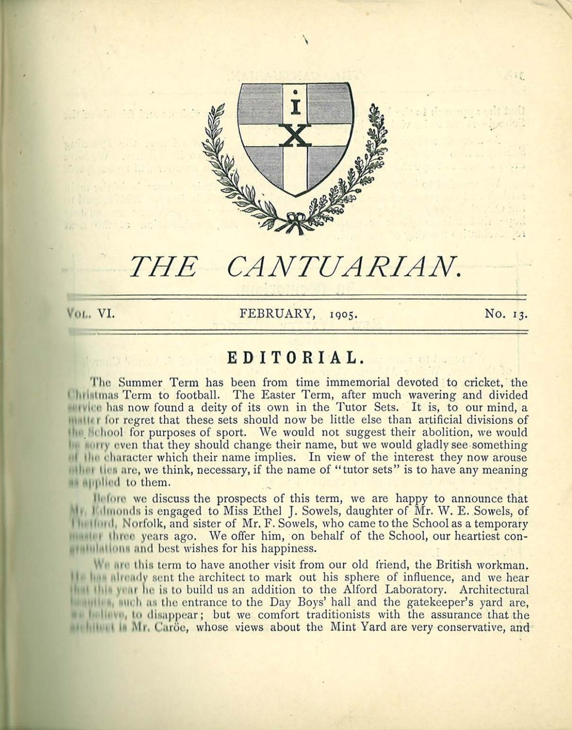 The Cantuarian February 1905 - December 1906 by OKS