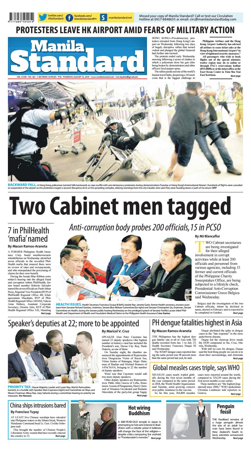 Manila Standard - 2019 August 15 - Thursday by Manila