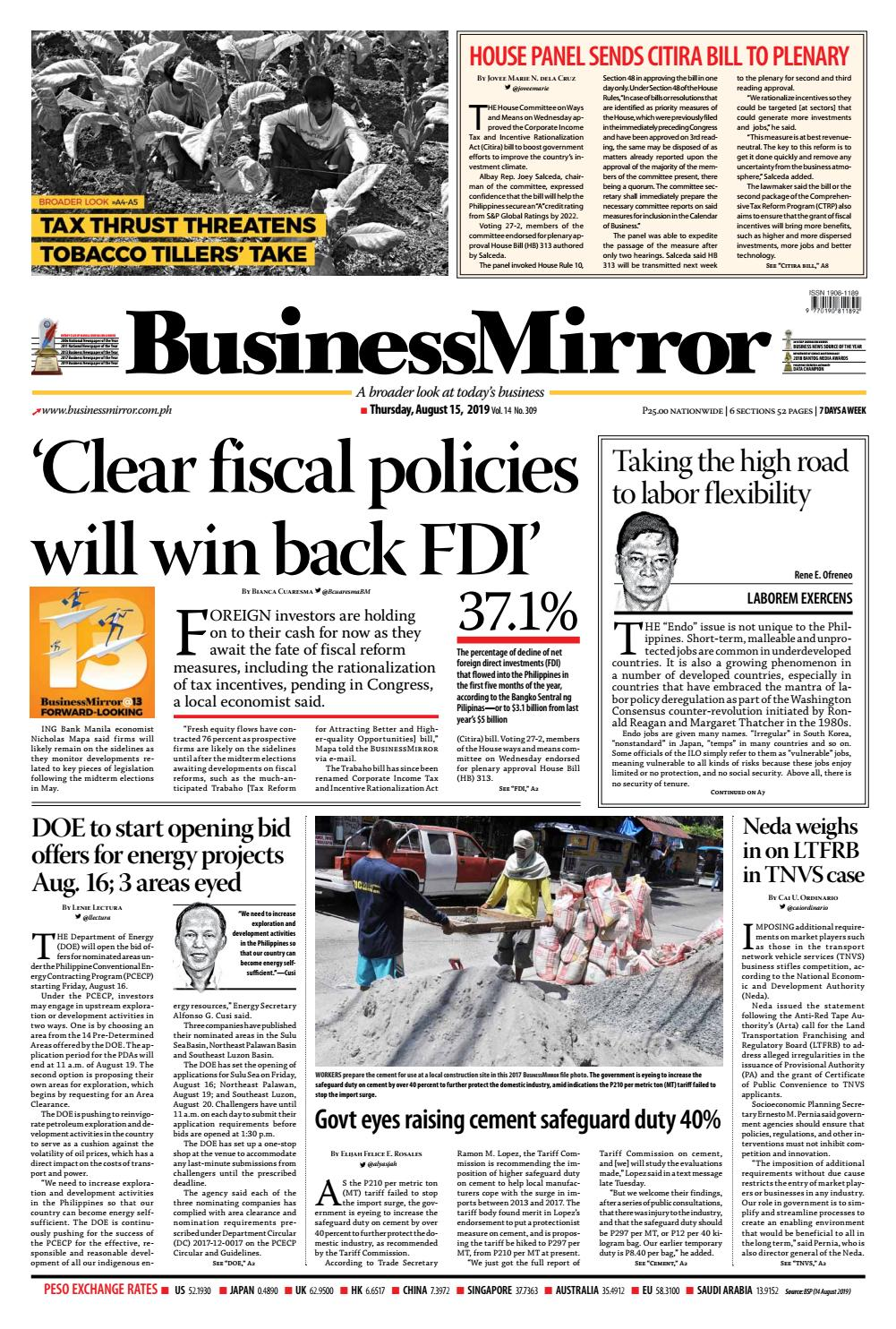 BusinessMirror August 15, 2019 by BusinessMirror - issuu