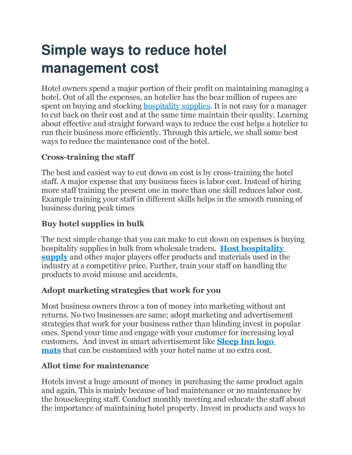 Simple ways to reduce hotel management cost by AVM