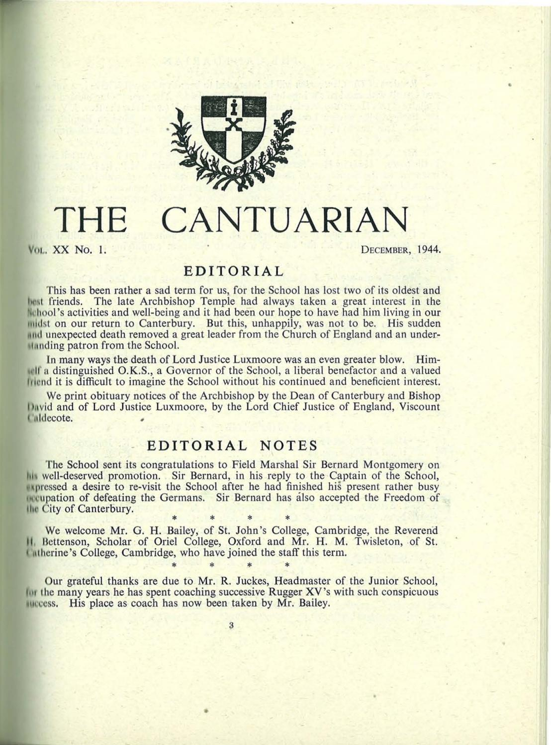 The Cantuarian December 1944 December 1945 By Oks Association The King S School Canterbury Issuu