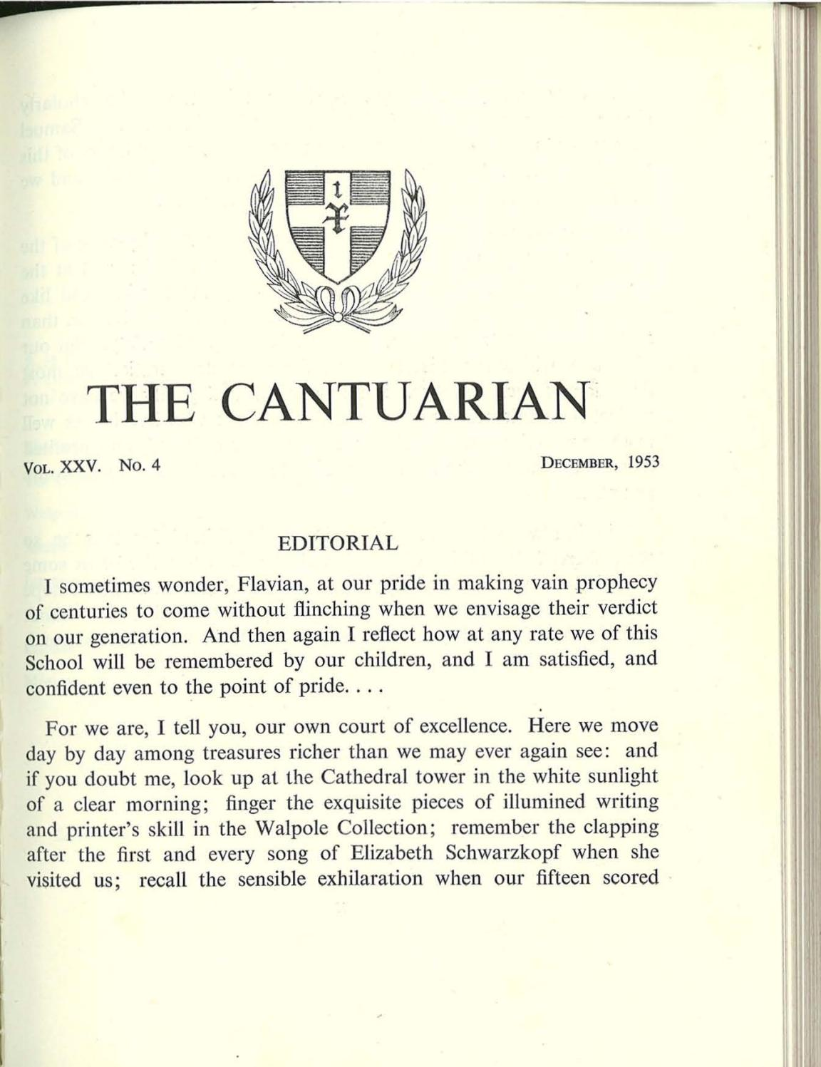 The Cantuarian December 1953   July 1954 by OKS Association   issuu