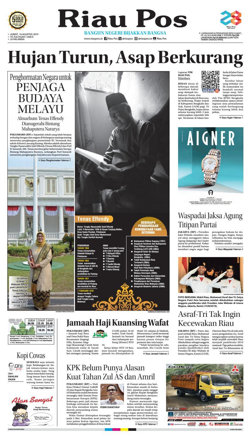Riau Pos Edisi Jum At 16 Agustus 2019 By Riau Pos Issuu