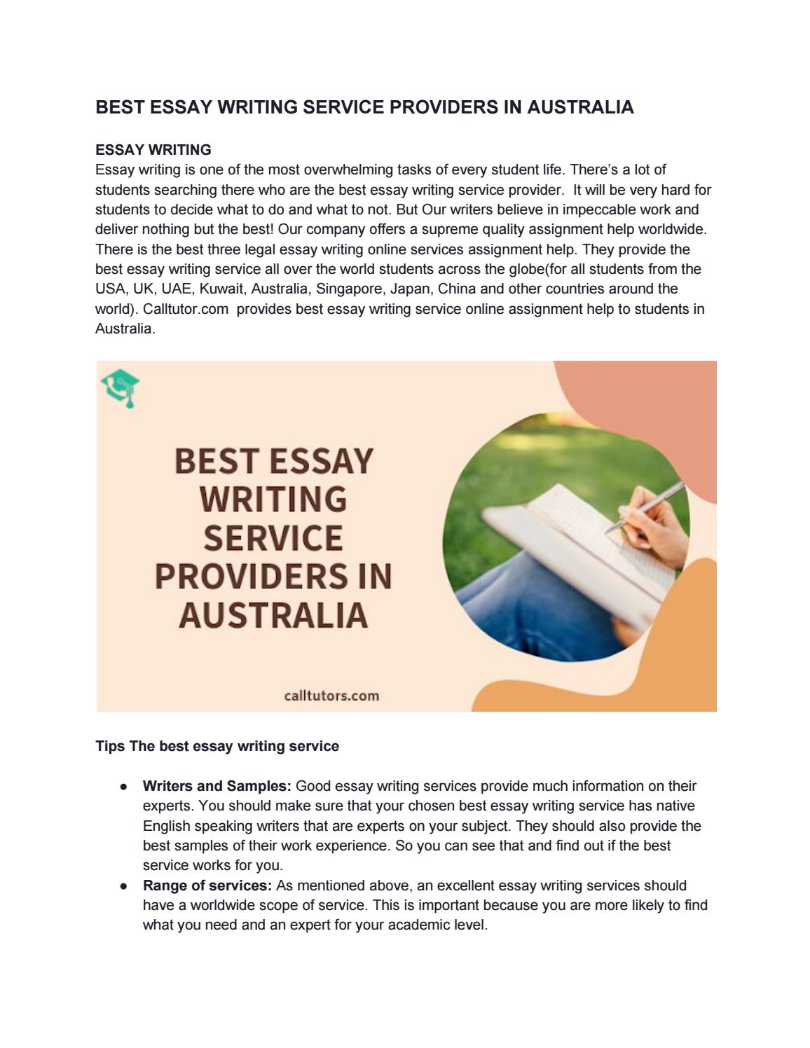 BEST ESSAY WRITING SERVICE PROVIDERS IN AUSTRALIA By