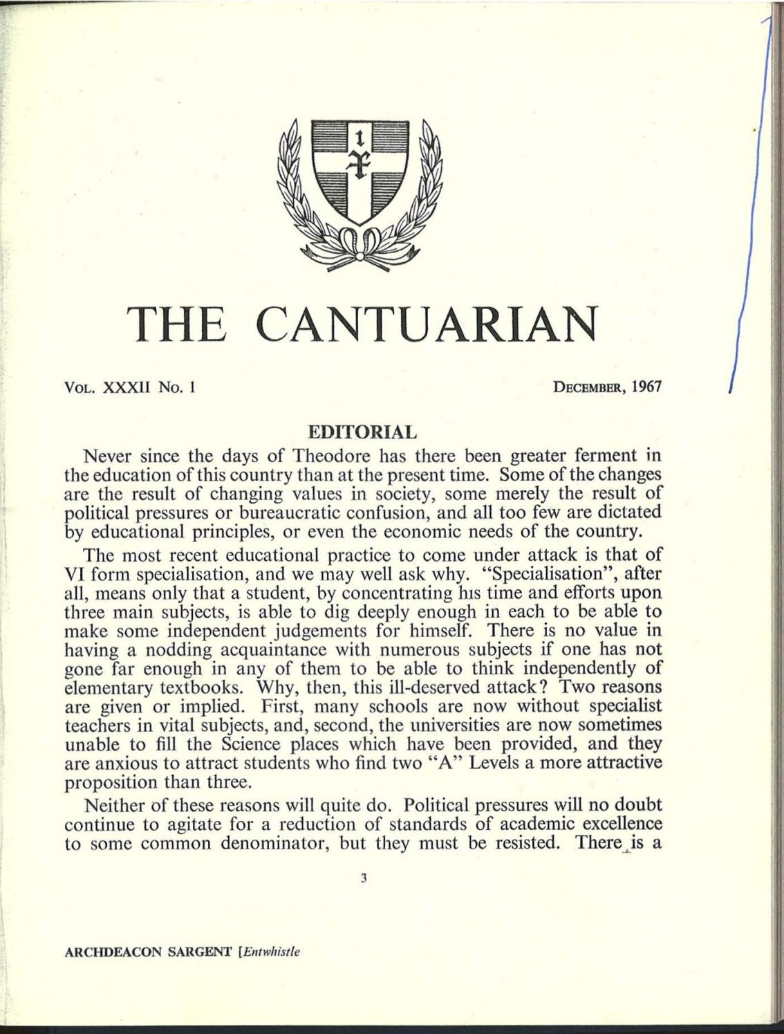 The Cantuarian December 1967 August 1968 By Oks Association Issuu