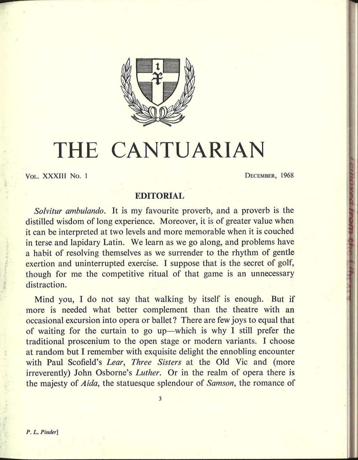 The Cantuarian December 1968 August 1969 By OKS