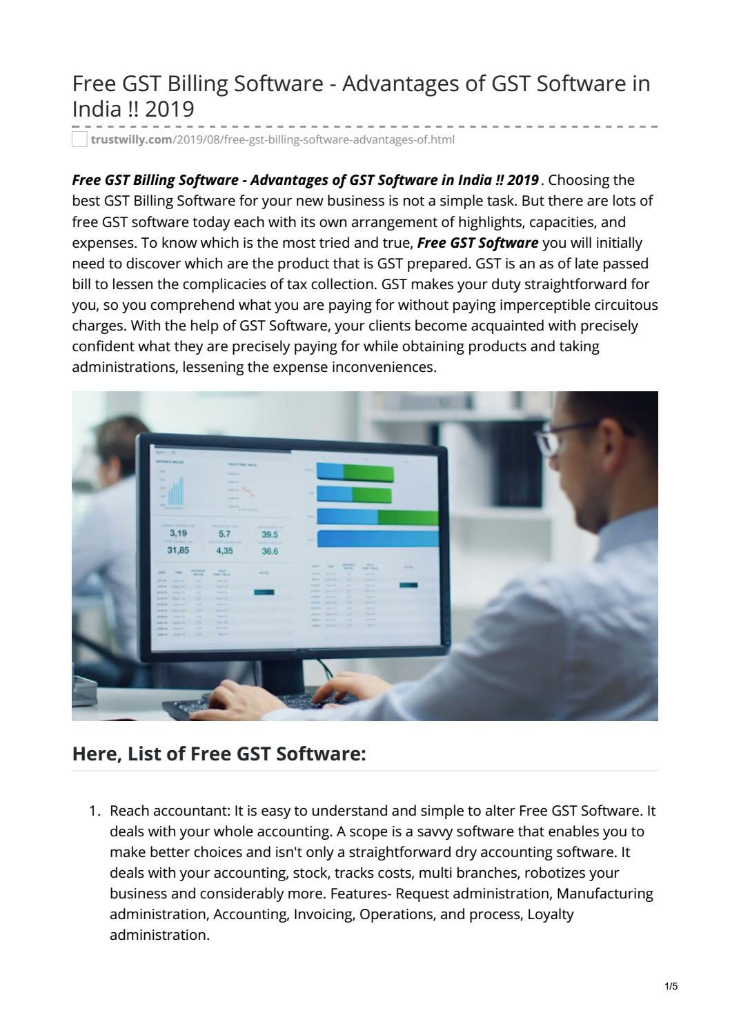 Free Gst Billing Software Advantages Of Gst Software In India 2019 By Curiosity Unleashed Issuu
