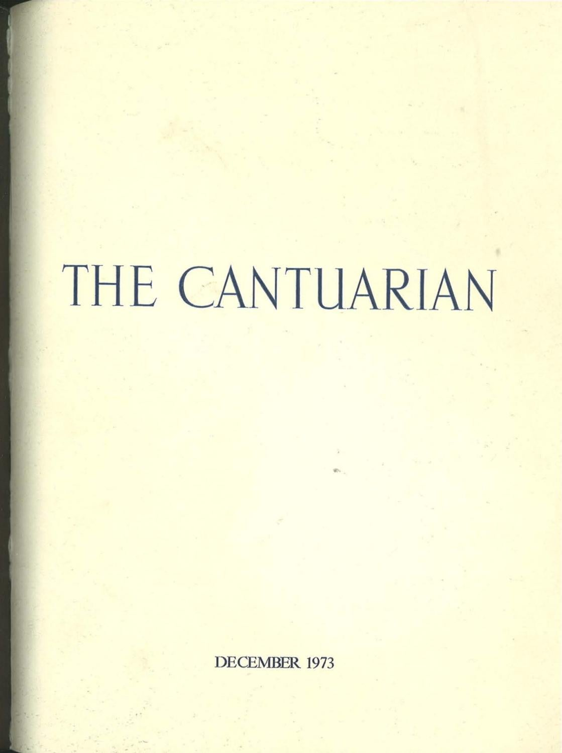 The Cantuarian December 1973 August 1974 By Oks Association Issuu