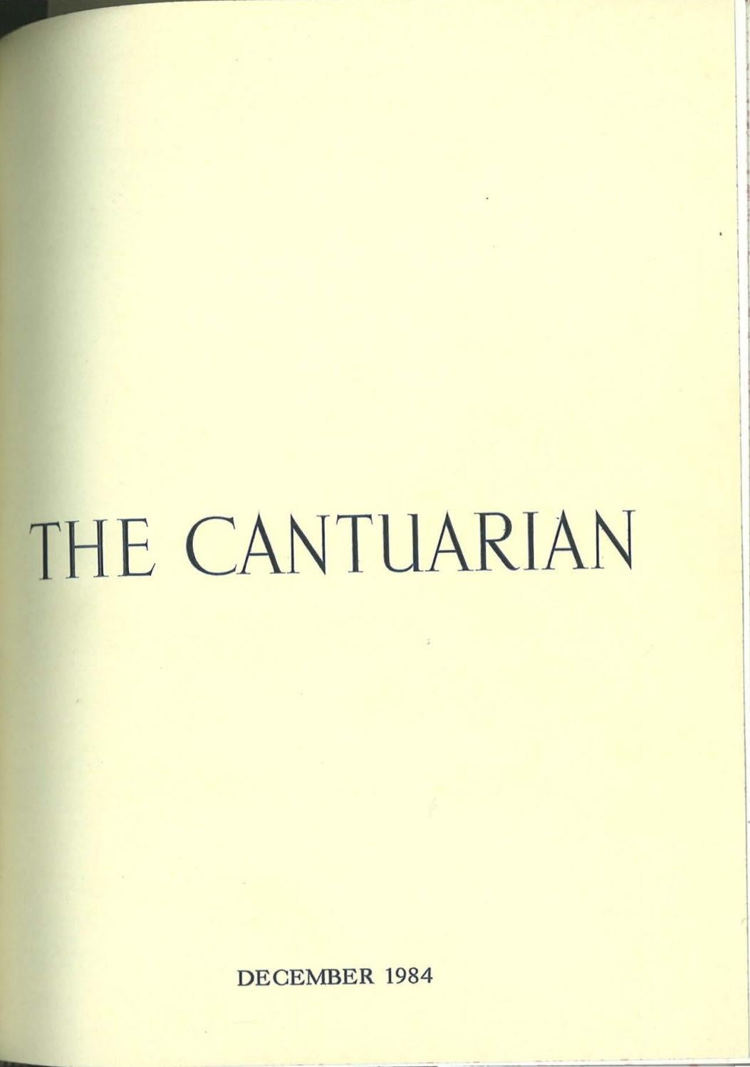 The Cantuarian December 1984 August 1985 By Oks Association Issuu