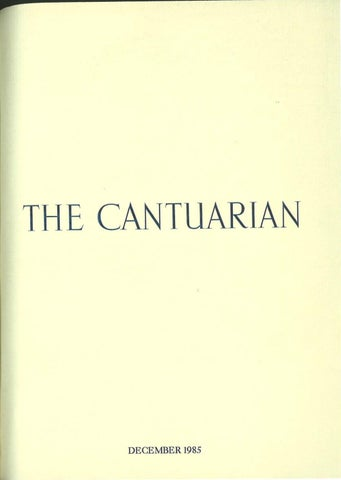 The Cantuarian December 1985 August 1986 By Oks
