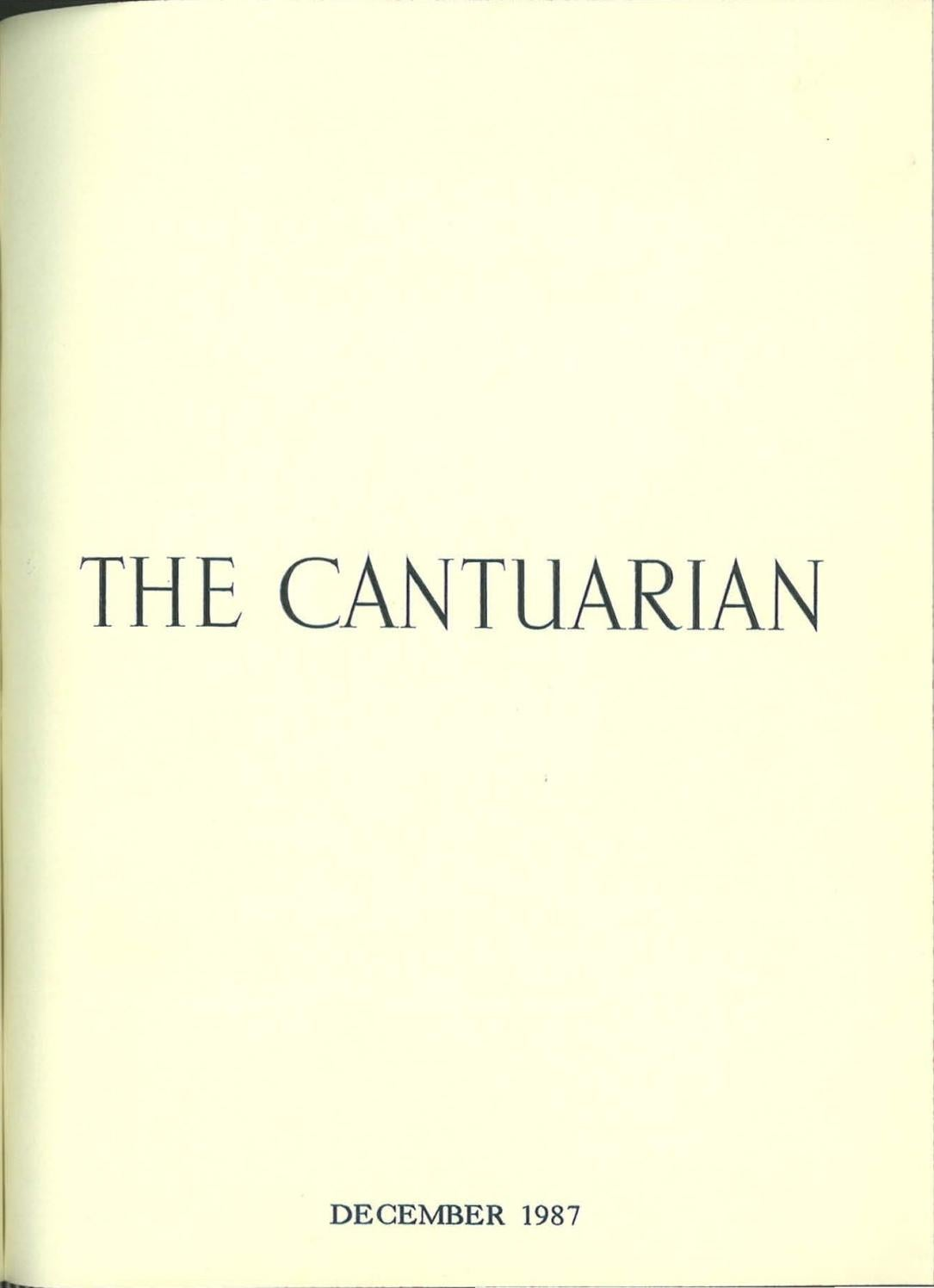 The Cantuarian December 1987 August 1988 By Oks Association Issuu