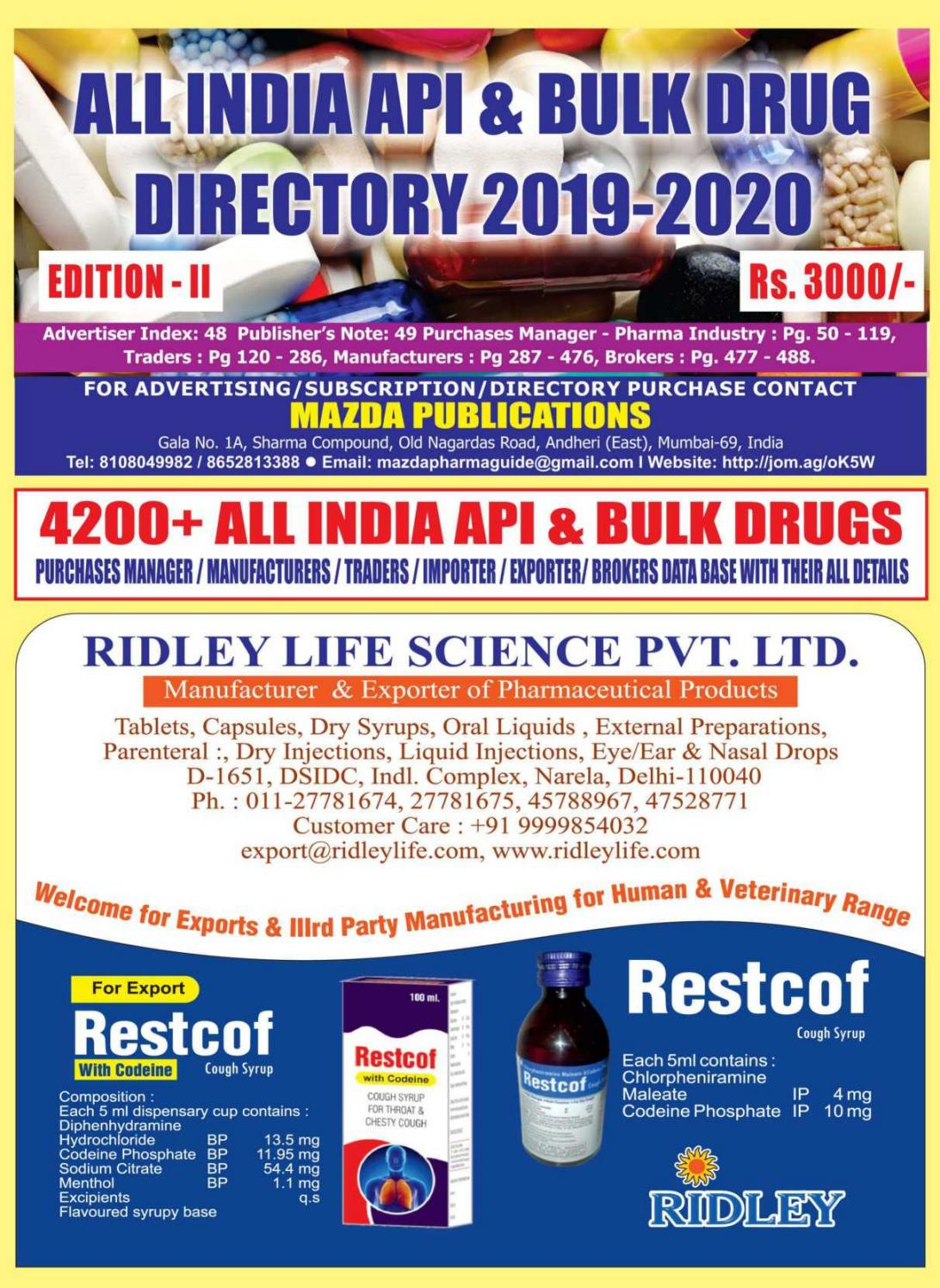 All India API & Bulk Drugs Directory 2019 - 20 by The Mazada