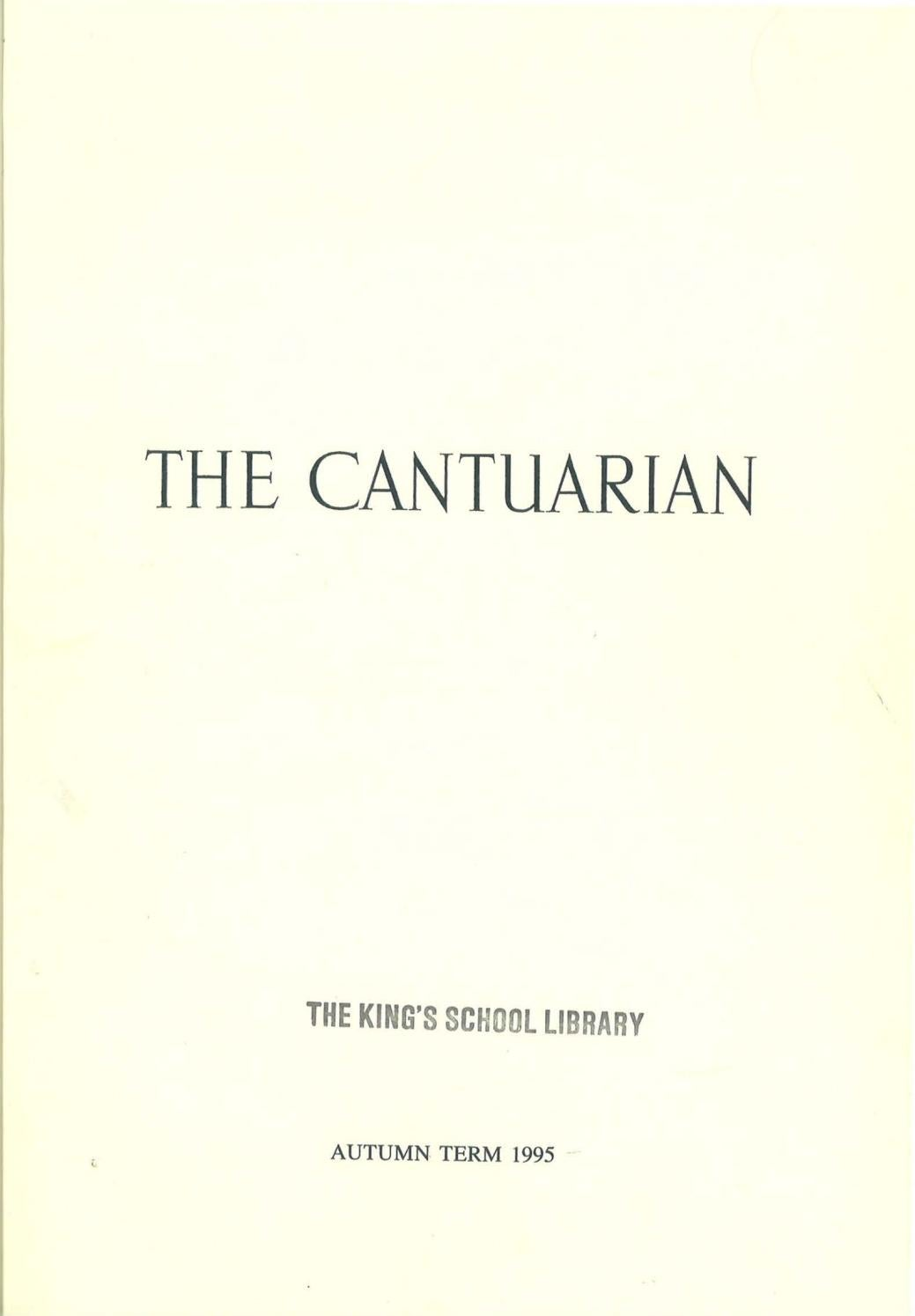 The Cantuarian Autumn 1995 - Summer 1996 by OKS Association
