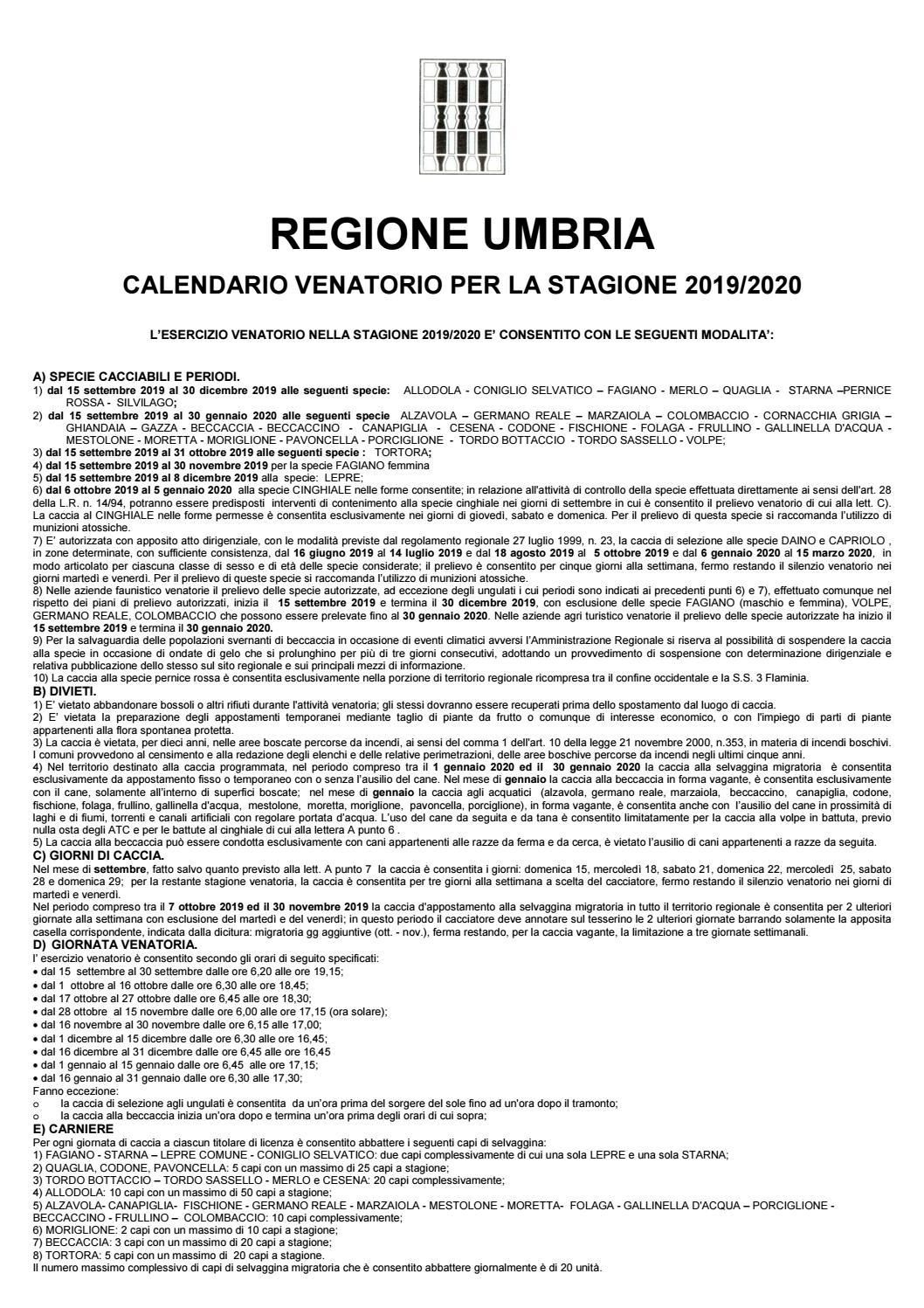 Calendario Venatorio 2020 Umbria.Calendario Venatorio Umbria 2019 2020 By Umbria24 Issuu