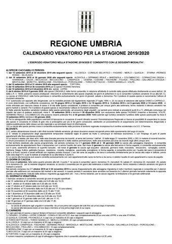 Calendario Venatorio 2020 20.Calendario Venatorio Umbria 2019 2020 By Umbria24 Issuu