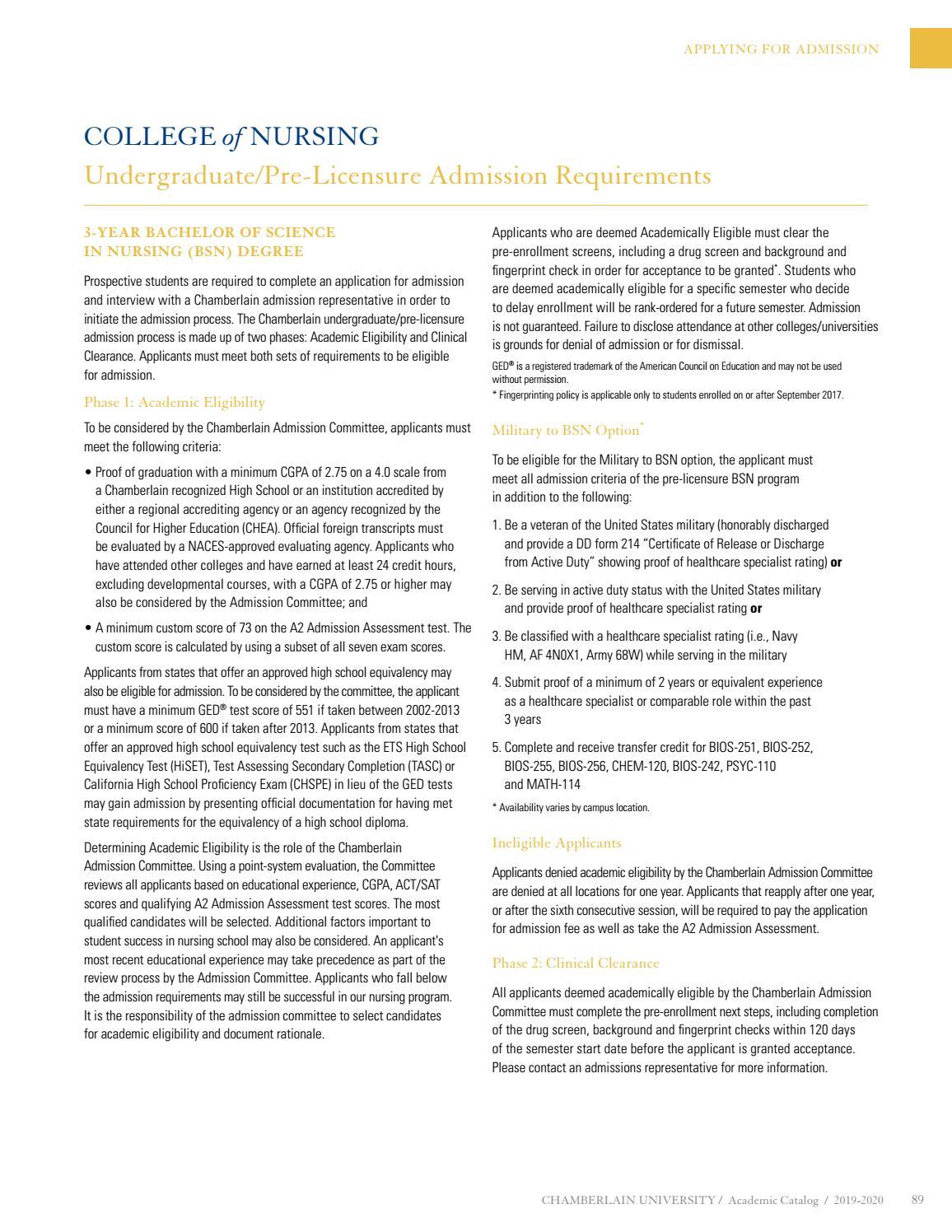 Chamberlain University Academic Catalog by Chamberlain