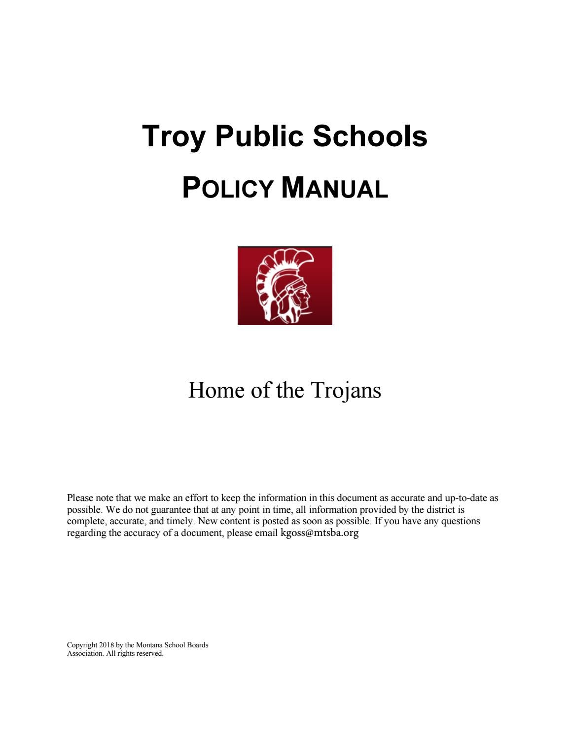 Troy Public Schools Policy Manual by Montana School Boards