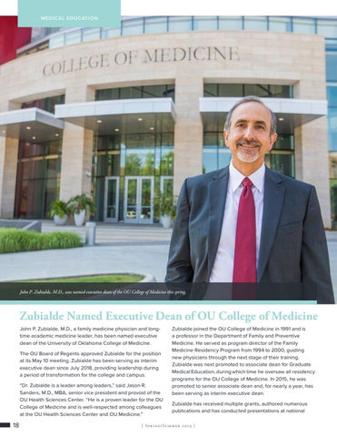 Page 18 of Zubialde Named Executive Dean of OU College of Medicine