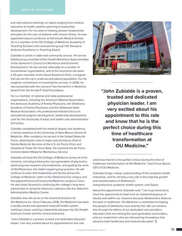 Page 19 of Zubialde Named Executive Dean of OU College of Medicine