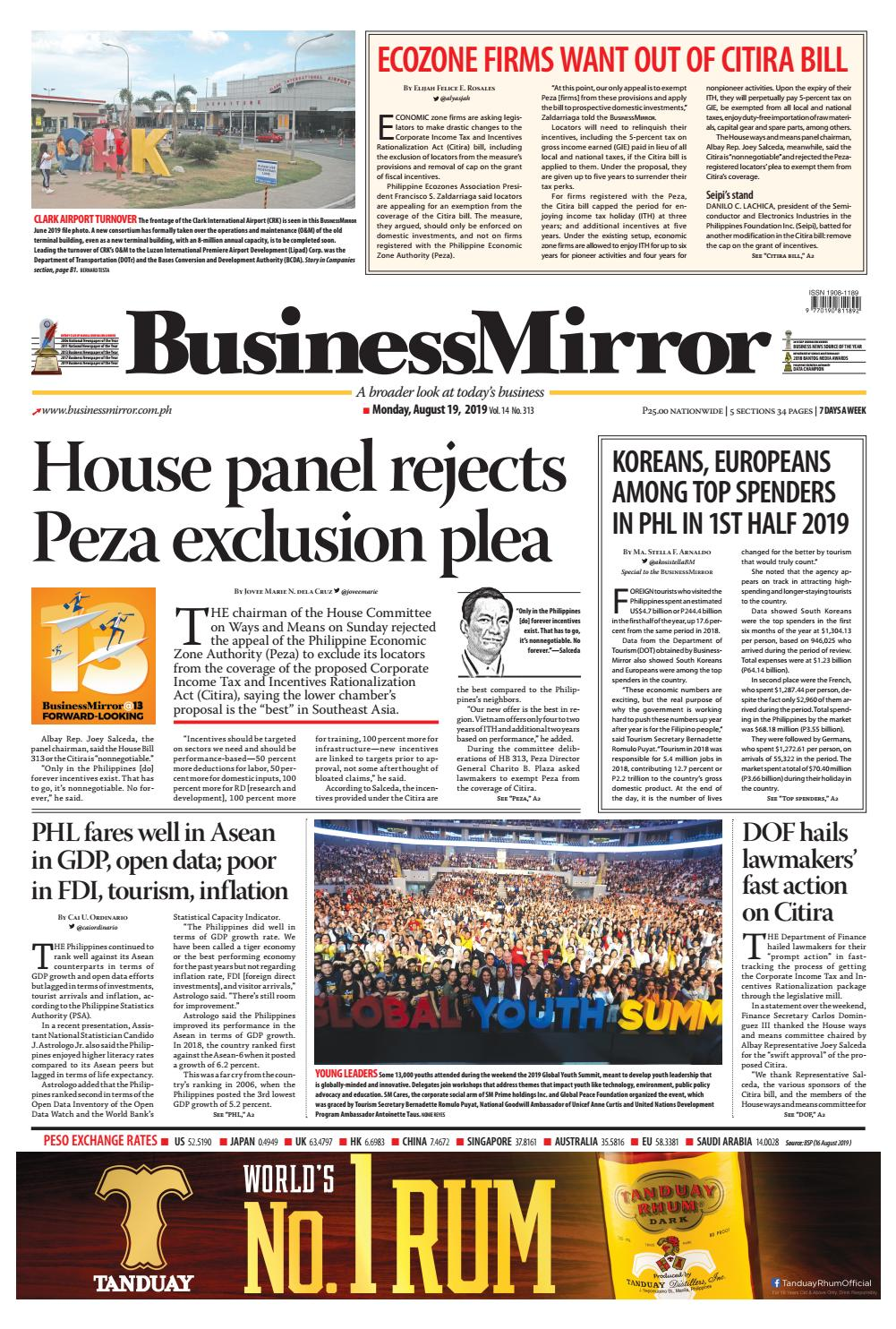 BusinessMirror August 19, 2019 by BusinessMirror - issuu