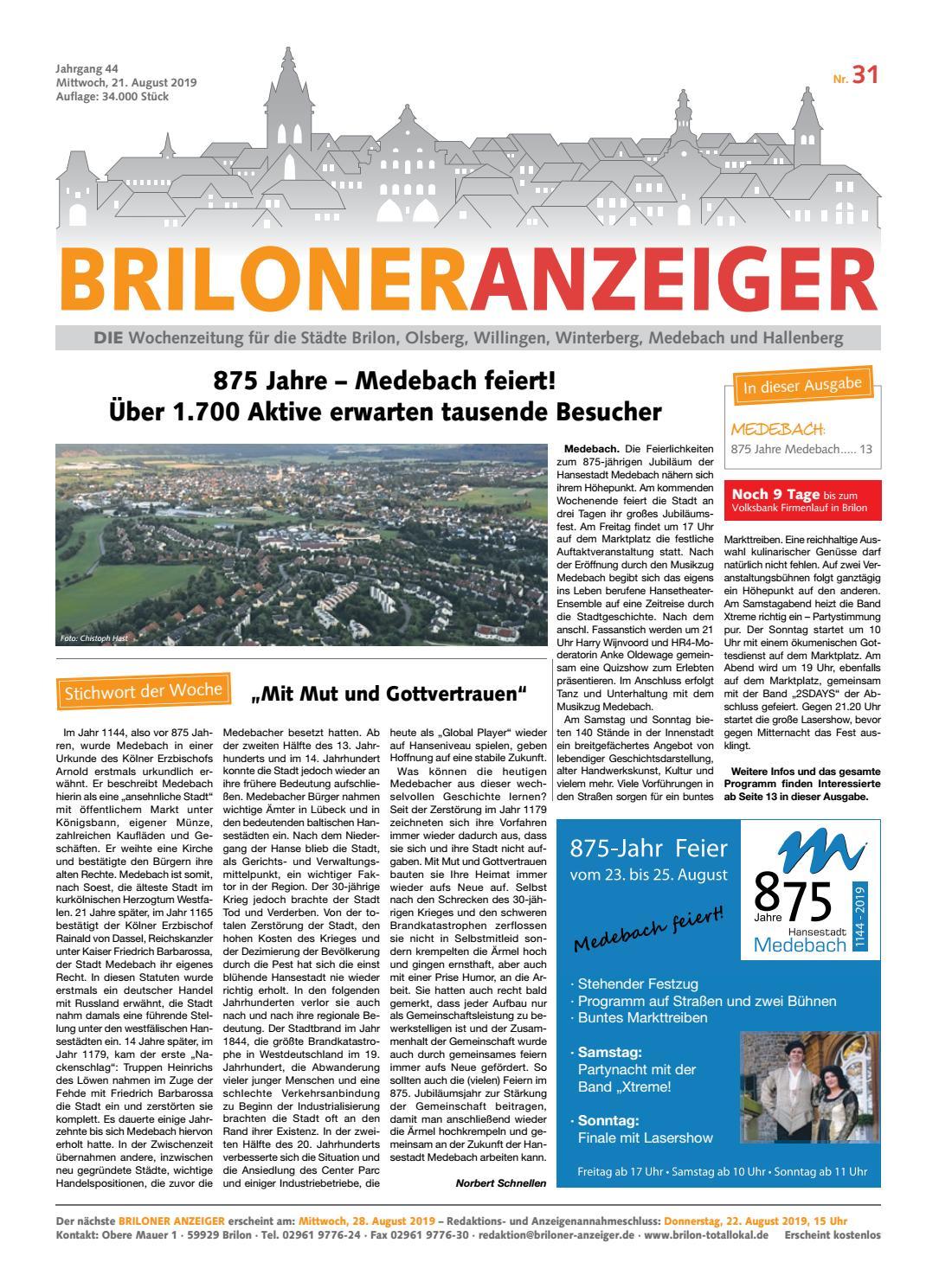 Briloner Anzeiger Ausgabe vom 21.08.2018 Nr. 31 by Brilon