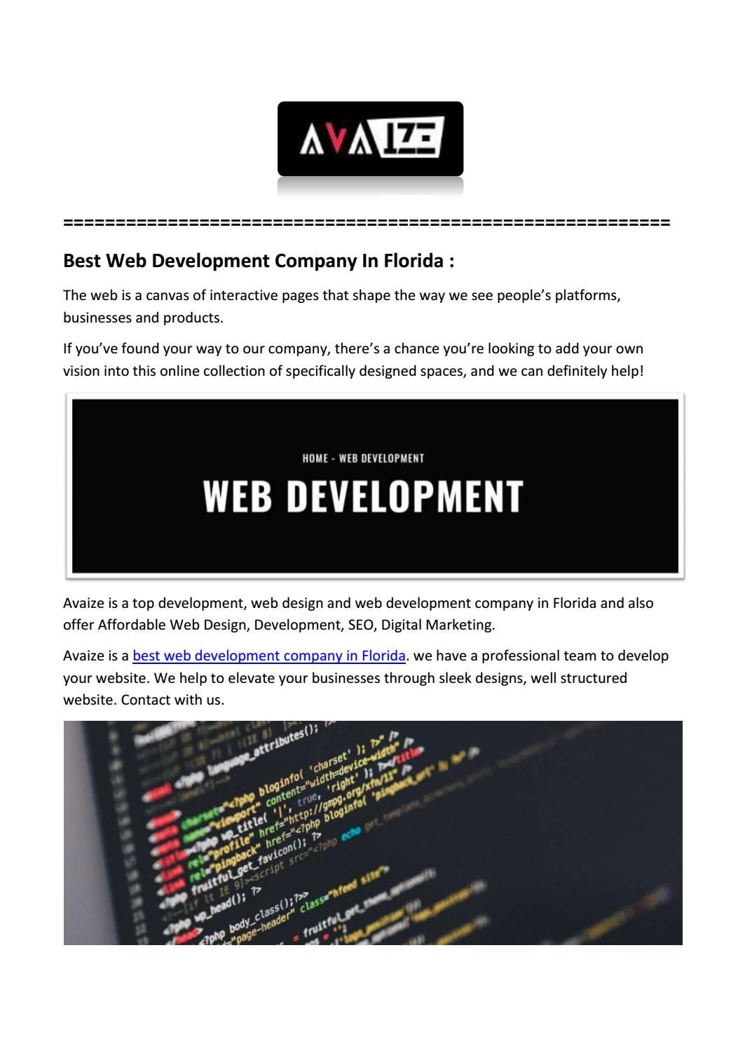 Best Web Development Company In Florida By Albertmccarty Issuu